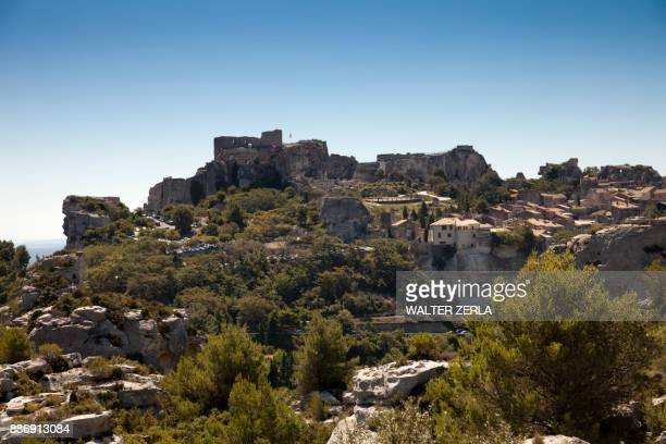 View of walled medieval town and castle, Les Baux-de-Provence, Provence-Alpes-Cte dAzur, France