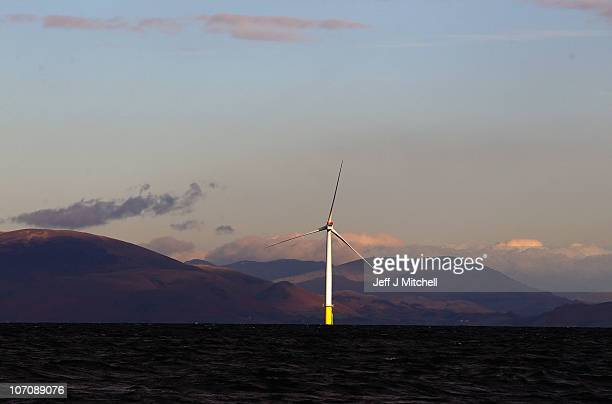A view of Walney Offshore Windfarm located 15km west of Cumbria in the Irish Sea on November 23 2010 in Barrow in Furness England The 102turbine...