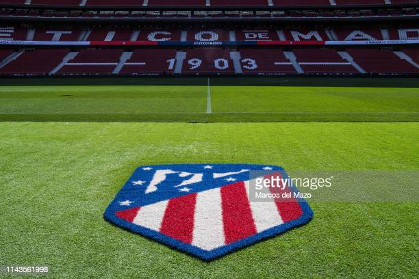 View of Wanda Metropolitano stadium during an open doors media day ahead of the 2019 UEFA Champions League Final. The final match will be played at...