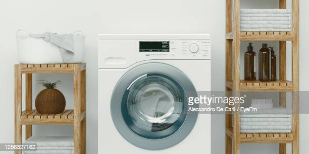view of washing machine at home - washing machine stock pictures, royalty-free photos & images
