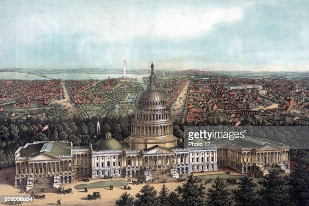 View of Washington City Print showing a bird'seye view of Washington DC with the US Capitol in the foreground the US Botanic Garden Smithsonian...