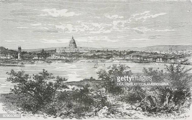 View of Washington, DC, United States of America, drawing by Theodor Alexander Weber , from The White Conquest by William Hepworth Dixon , from Il...