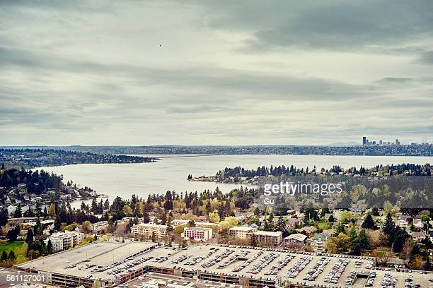 view of washington lake from lincoln square, seattle, washington state, usa - bellevue washington state stock photos and pictures