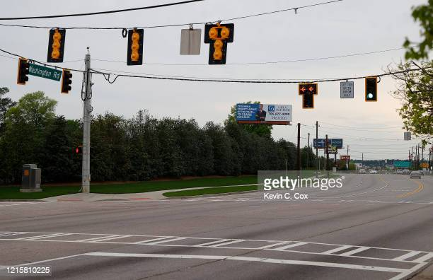 A view of Washington Road and Old Berckmans Road next to Augusta National on March 30 2020 in Augusta Georgia The Masters Tournament the Augusta...