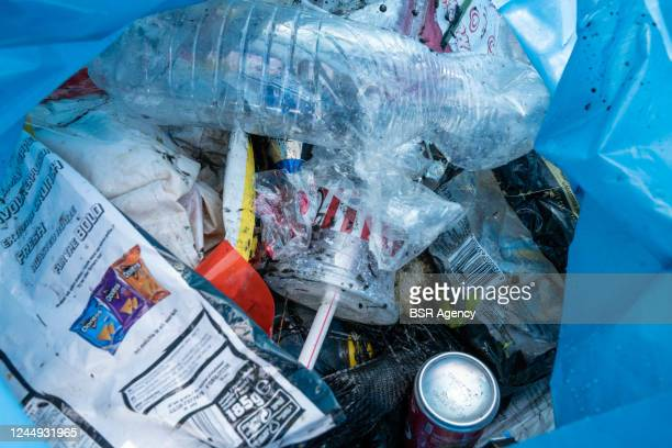 View of waste picked up from the canals on June 1, 2020 in Haarlem, Netherlands during SUPmission, an initiative to clean up the canals. Since the...