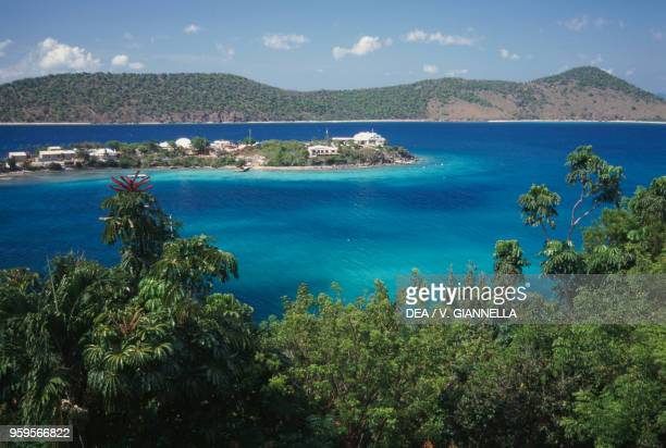 View of Water Bay with Thatch Cay Islet Saint Thomas Island US Virgin Islands United States of America