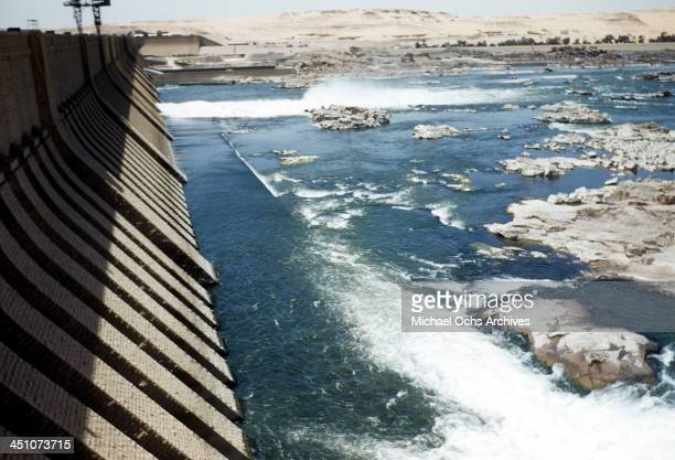 A view of water rushing out of the Aswan Dam in Aswan Egypt