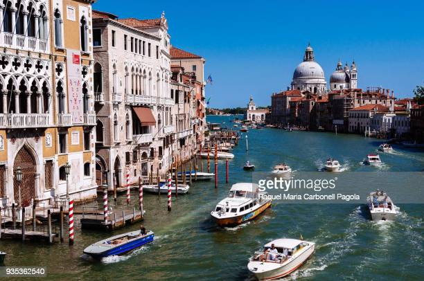 View of watercrafts on the Grand Canal from Ponte dell'Accademia