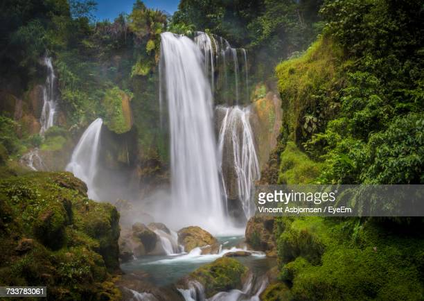 view of waterfall in forest - honduras stock pictures, royalty-free photos & images