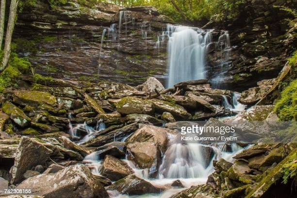 view of waterfall in forest - katie moss stock pictures, royalty-free photos & images