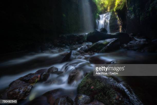 view of waterfall in forest - ade rizal stock photos and pictures