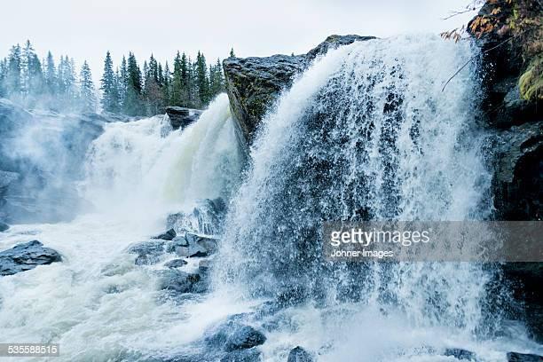 view of waterfall - östersund stock-fotos und bilder