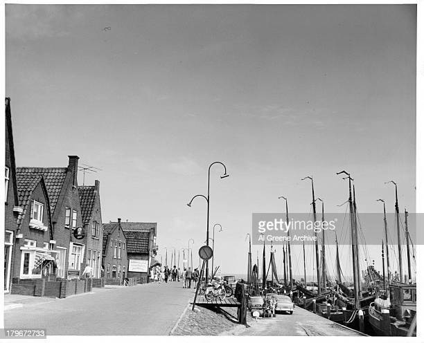 A view of waterfront and harbor in Volendam Holland