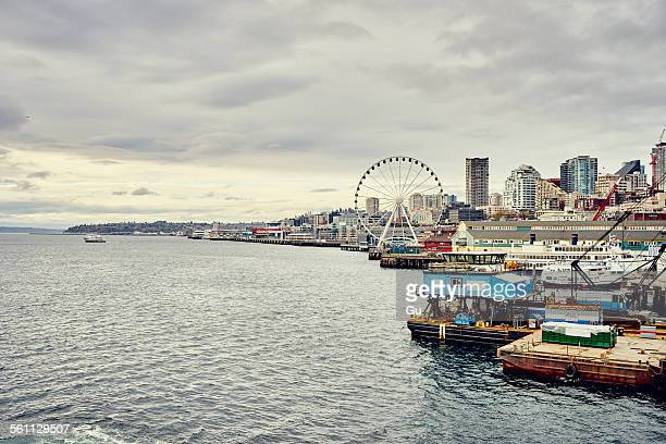 View of waterfront and Seattle great wheel, Seattle, Washington State, USA
