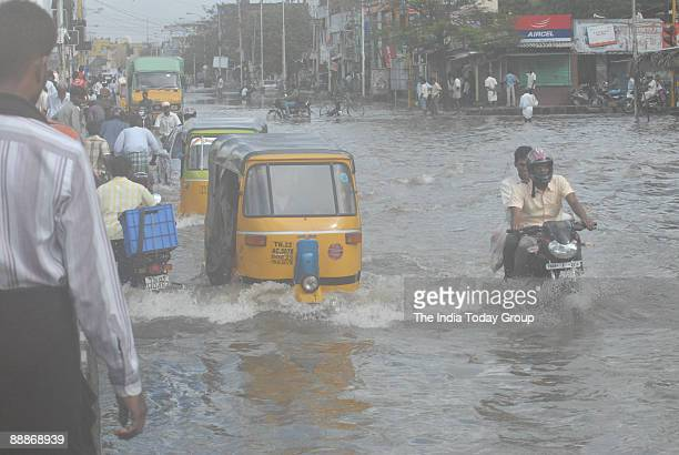 View of Waterlogged roads after heavy rainfall in Chennai Tamil Nadu India