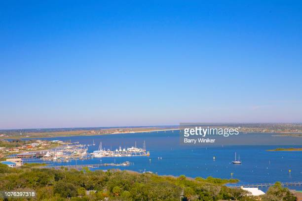 view of waterways from up high in st. augustine - st augustine lighthouse stock photos and pictures