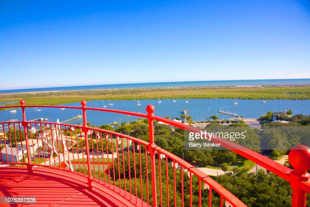 view of waterways from up high in st. augustine - st augustine lighthouse - fotografias e filmes do acervo