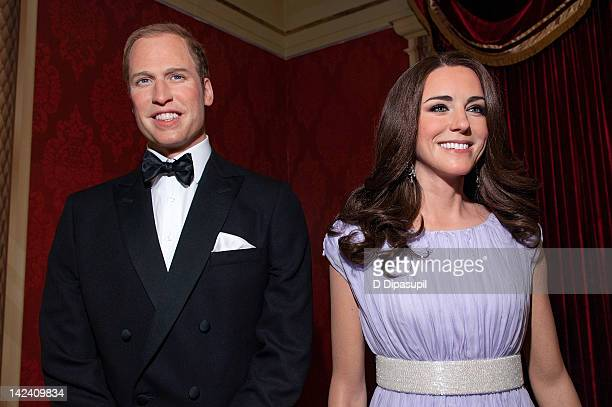 A view of wax figures of Prince William and Catherine Duchess of Cambridge on display at the unveiling of Prince William and Catherine wax figures at...