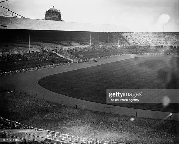 A view of Wembley Stadium nearing completion on construction February 1923