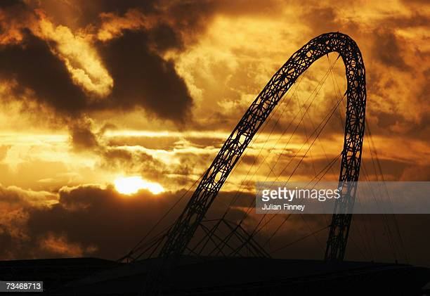 A view of Wembley Stadium's Arch is seen as the sun sets on February 28 2007 in London England