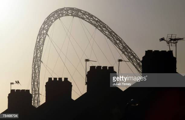 A view of Wembley Stadium's Arch is seen over roof tops on March 2 2007 in London England