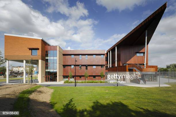 View of West facade showing amphitheatre in foreground Irish World Academy of Music and Dance Limerick Ireland Architect Daniel Cordier 2010