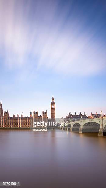 View of Westminster across the River Thames, London, UK