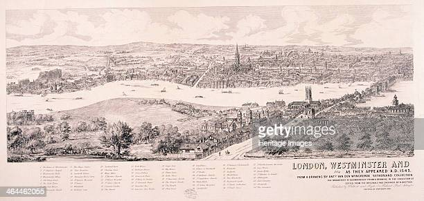 View of Westminster and the City of London across the River Thames from Southwark 1543 with a key below detailing buildings and streets One of two...