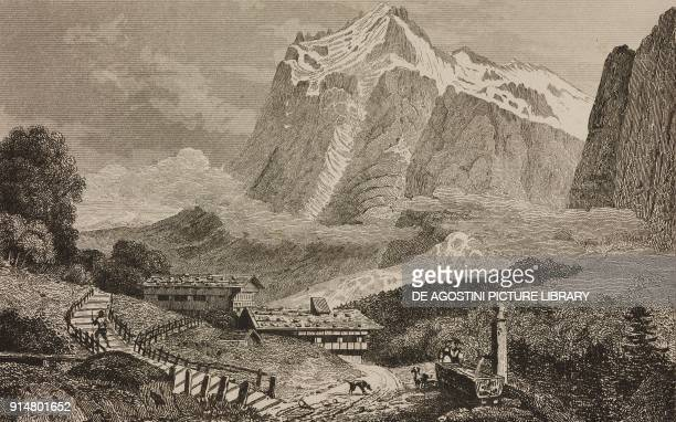 View of Wetterhorn taken from the village of Grienwald Switzerland engraving by Rouargue from Histoire et description de la Suisse et du Tyrol by...