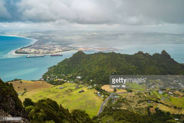 view of whangarei heads from mt manaia. - whangarei heads stock pictures, royalty-free photos & images