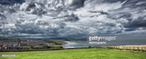 view of whitby harbour from above - whitby north yorkshire england stock pictures, royalty-free photos & images