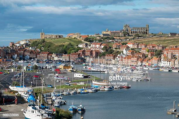 View of Whitby harbour showing the Church and Abbey