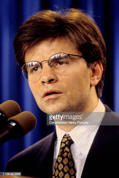 View of White House Director of Communications George Stephanopoulos behind a bank of microphones in the White House Briefing Room Washington DC...