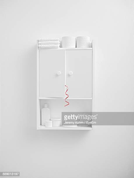 view of white medicine cabinet - medicine cabinet stock pictures, royalty-free photos & images