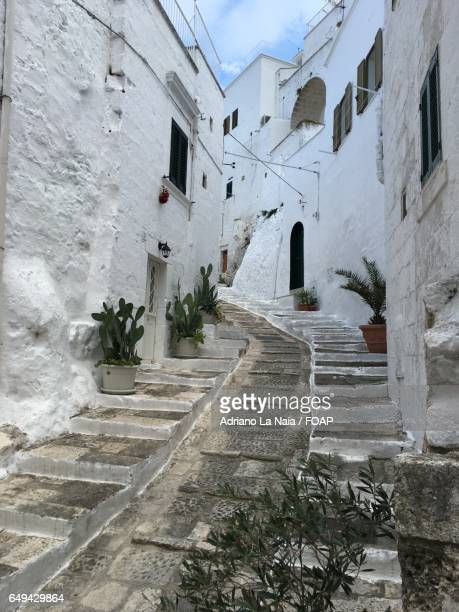 view of white town, ostuni, italy - ostuni stock photos and pictures