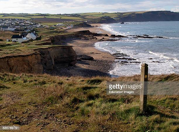 View of Widemouth Bay from the south west coast path Bude Cornwall UK