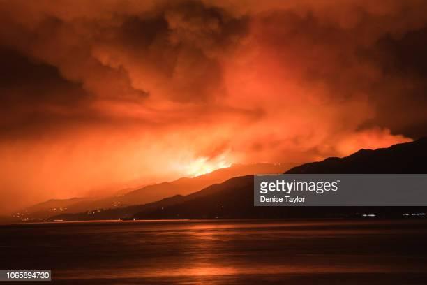 View of wild fire in Malibu from Santa Monica