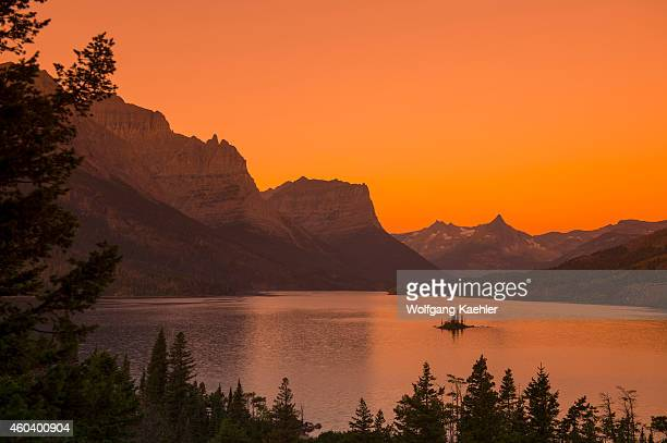 View of Wild Goose Island in Saint Mary Lake at sunrise in Glacier National Park Montana United States