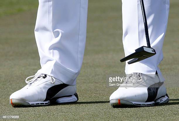 A view of Will Mackenzie's golf shoes during a practice round prior to the Sony Open in Hawaii at Waialae Country Club on January 7 2014 in Honolulu...
