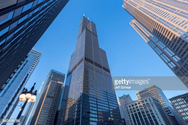 View of Willis Tower on February 26, 2018 in Chicago, Illinois.