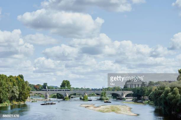 View of Wilson Bridge over Loire river, Tours, Loire Valley, France
