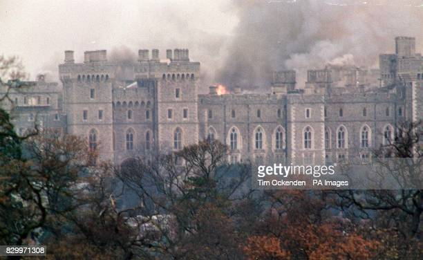 A view of Windsor Castle after fire started in the Queen's Private Chapel