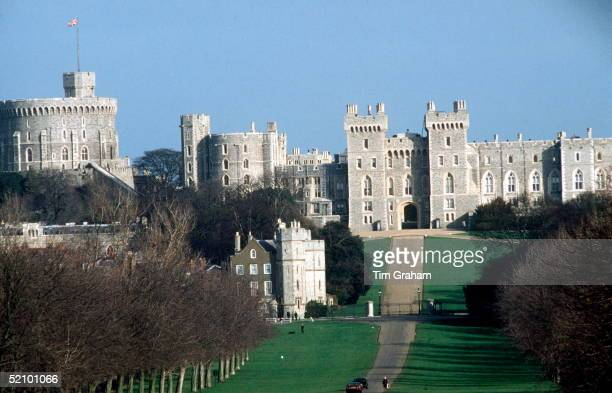 View Of Windsor Castle, One Of The Queen's Official Residences, Taken From The Long Drive In Windsor Great Park.circa 1980s