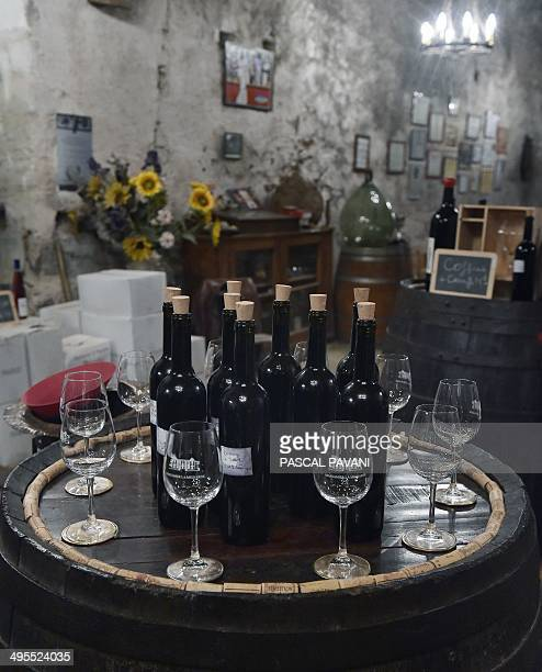 VITICULTURE View of wine bottles in her Chateau Massamier La Mignarde wineyard in has the cellar of the domain his Pepieux southern France on May 21...
