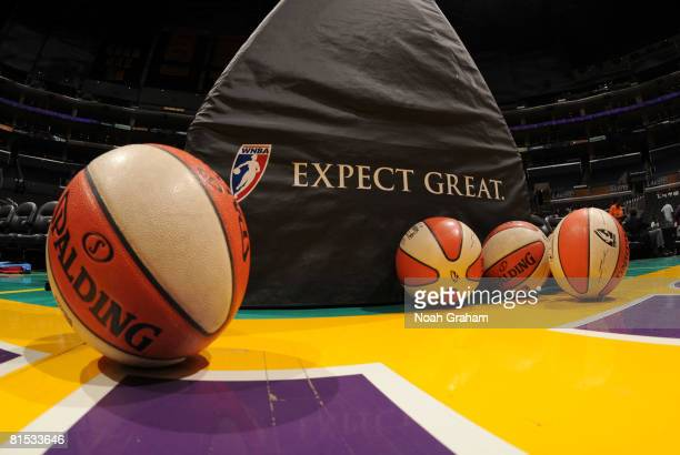 View of WNBA basketballs before the Detroit Shock take on the Los Angeles Sparks at Staples Center on June 11, 2008 in Los Angeles, California. NOTE...