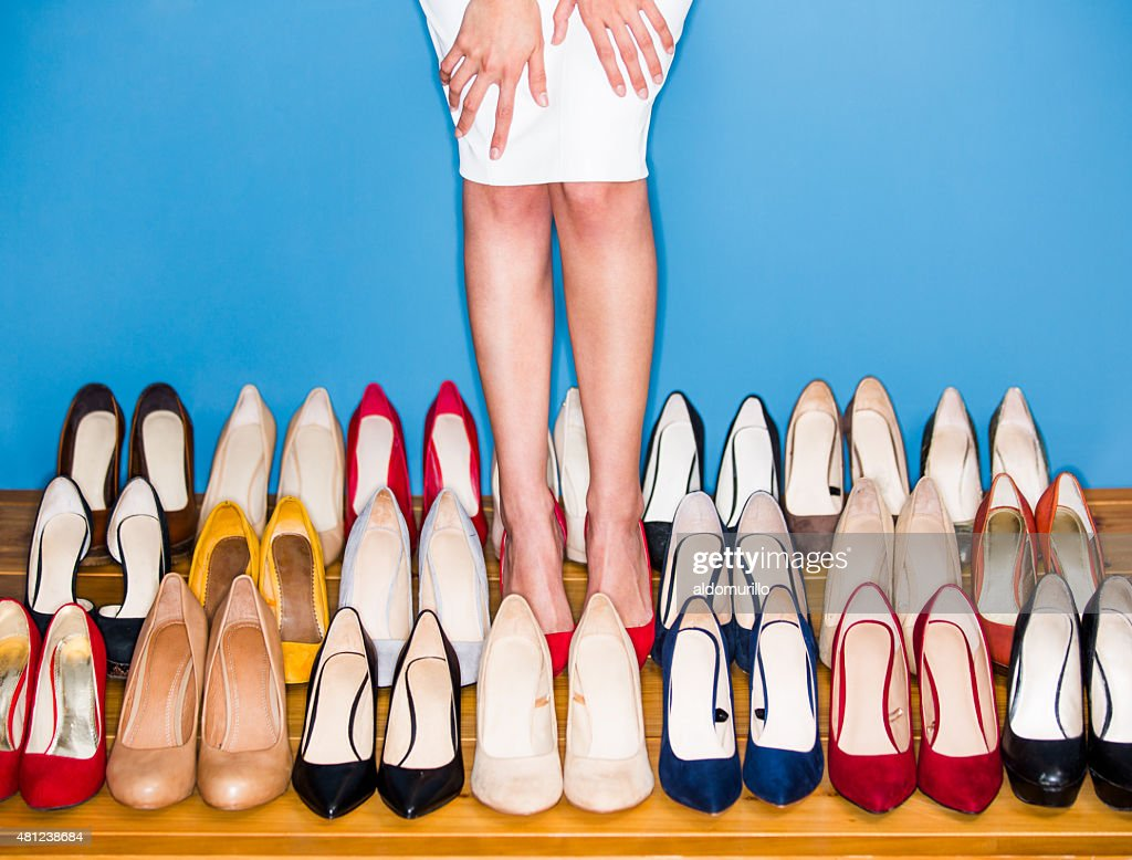 View of woman wearing high heels : Stock Photo