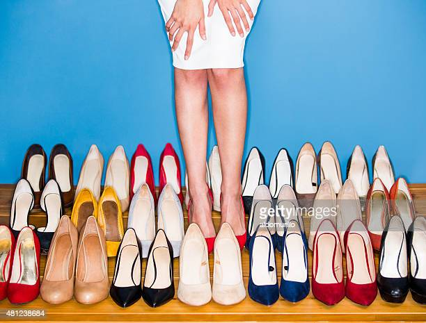 view of woman wearing high heels - hoge hakken stockfoto's en -beelden