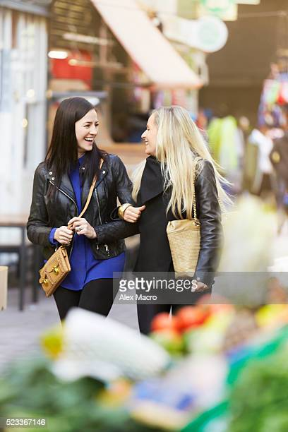 View of women on shopping spree