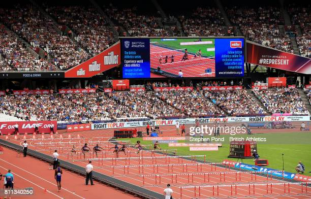 View of Women's 100m Hurdles during the Muller Anniversary Games on July 9, 2017 in London, England.