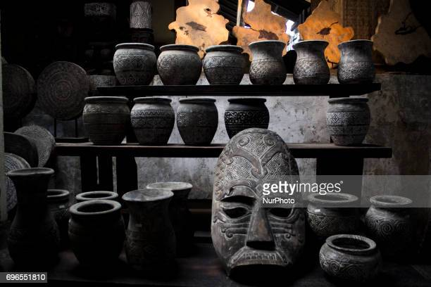 A view of Wood Carving Furniture for sale Shop for sale in Ubud Bali Indonesia on June 16 2017 became a trend to decorate the home space to be ethnic...